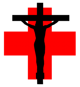 crucifix on a red cross
