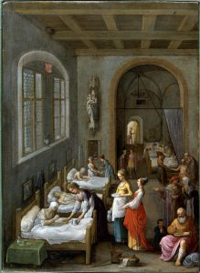 Saint Elizabeth of Hungary bringing food for the inmates of Wellcome V0017200 219x300 - Catholic Church Pioneered Hospitals and Large-Scale Charity
